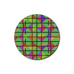 3d Rhombus Pattern			rubber Coaster (round) by LalyLauraFLM