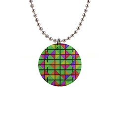 3d Rhombus Pattern			1  Button Necklace by LalyLauraFLM