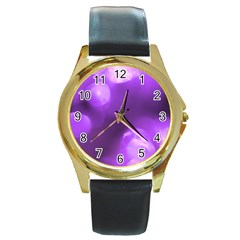 Purple Circles Round Gold Metal Watches by timelessartoncanvas
