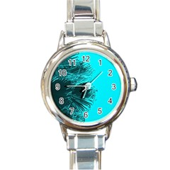 Modern Palm Leaves Round Italian Charm Watches by timelessartoncanvas