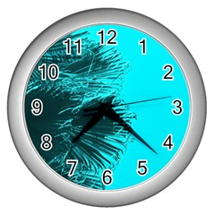 Modern Palm Leaves Wall Clocks (silver)  by timelessartoncanvas