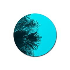 Modern Palm Leaves Rubber Coaster (round)  by timelessartoncanvas