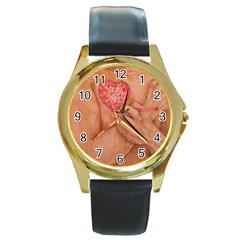 Embrace Love  Round Gold Metal Watches by KentChua