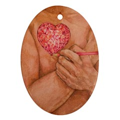 Embrace Love  Oval Ornament (two Sides) by KentChua