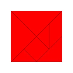 Trendy Red  Acrylic Tangram Puzzle (4  X 4 ) by Costasonlineshop
