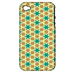 Stars And Squares Pattern			apple Iphone 4/4s Hardshell Case (pc+silicone) by LalyLauraFLM