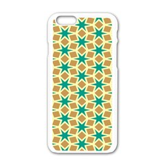 Stars And Squares Pattern			apple Iphone 6/6s White Enamel Case by LalyLauraFLM