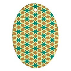 Stars And Squares Patternornament (oval) by LalyLauraFLM