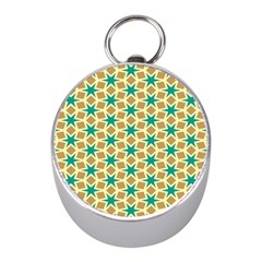 Stars And Squares Patternsilver Compass (mini) by LalyLauraFLM