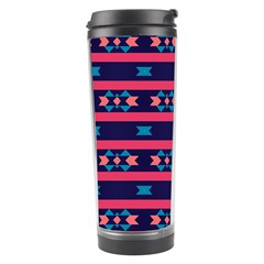 Stripes And Other Shapes Pattern Travel Tumbler by LalyLauraFLM