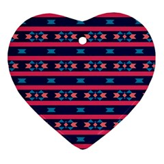 Stripes And Other Shapes Pattern ornament (heart) by LalyLauraFLM
