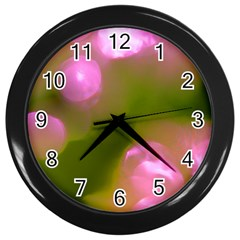 Pink And Green Circles Wall Clocks (black) by timelessartoncanvas