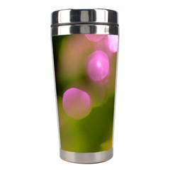 Pink And Green Circles Stainless Steel Travel Tumblers by timelessartoncanvas