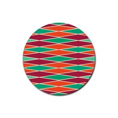Distorted Rhombus Pattern 			rubber Round Coaster (4 Pack) by LalyLauraFLM