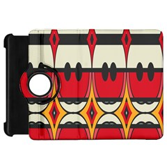 Rhombus Ovals And Stripes			kindle Fire Hd Flip 360 Case by LalyLauraFLM