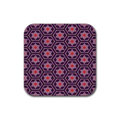 Flowers And Honeycomb Pattern 			rubber Square Coaster (4 Pack by LalyLauraFLM
