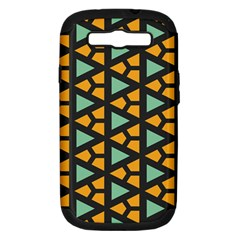 Green triangles and other shapes pattern			Samsung Galaxy S III Hardshell Case (PC+Silicone) by LalyLauraFLM
