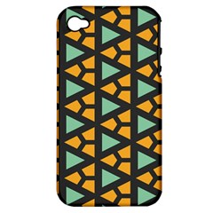 Green Triangles And Other Shapes Pattern			apple Iphone 4/4s Hardshell Case (pc+silicone) by LalyLauraFLM