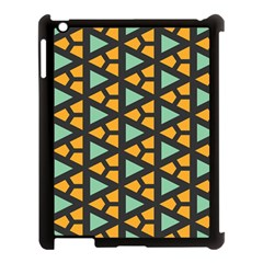 Green Triangles And Other Shapes Pattern			apple Ipad 3/4 Case (black) by LalyLauraFLM