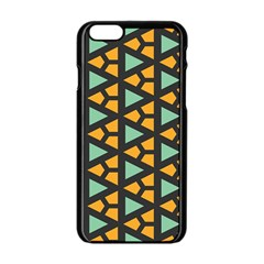 Green Triangles And Other Shapes Patternapple Iphone 6/6s Black Enamel Case