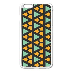 Green Triangles And Other Shapes Patternapple Iphone 6 Plus/6s Plus Enamel White Case by LalyLauraFLM