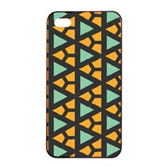 Green Triangles And Other Shapes Pattern			apple Iphone 4/4s Seamless Case (black) by LalyLauraFLM