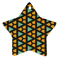 Green Triangles And Other Shapes Pattern 			ornament (star) by LalyLauraFLM
