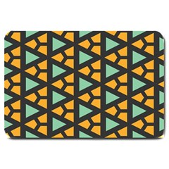 Green Triangles And Other Shapes Pattern 			large Doormat by LalyLauraFLM