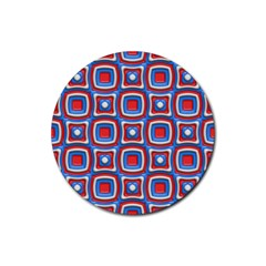 3d Squares 			rubber Coaster (round) by LalyLauraFLM