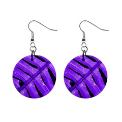 Purple Fern Mini Button Earrings by timelessartoncanvas