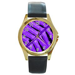Purple Fern Round Gold Metal Watches by timelessartoncanvas