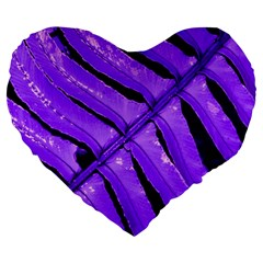 Purple Fern Large 19  Premium Flano Heart Shape Cushions by timelessartoncanvas