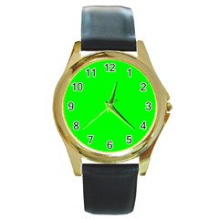 Cool Green Round Gold Metal Watches by Costasonlineshop