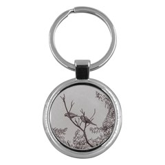 Couple Of Parrots In The Top Of A Tree Key Chains (round)  by dflcprints