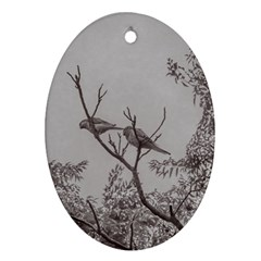 Couple Of Parrots In The Top Of A Tree Oval Ornament (two Sides) by dflcprints