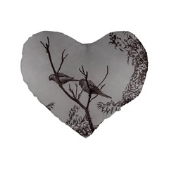 Couple Of Parrots In The Top Of A Tree Standard 16  Premium Flano Heart Shape Cushions by dflcprints