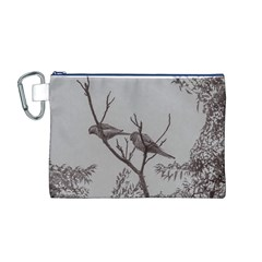 Couple Of Parrots In The Top Of A Tree Canvas Cosmetic Bag (m) by dflcprints