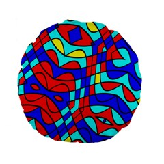 Colorful Bent Shapes 	standard 15  Premium Flano Round Cushion by LalyLauraFLM