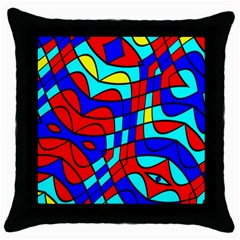 Colorful Bent Shapes 			throw Pillow Case (black) by LalyLauraFLM