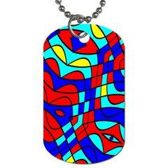 Colorful Bent Shapes 			dog Tag (one Side) by LalyLauraFLM