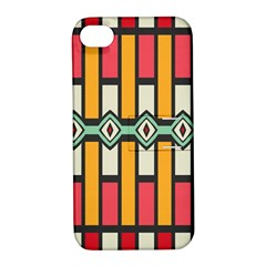 Rhombus And Stripes Patternapple Iphone 4/4s Hardshell Case With Stand by LalyLauraFLM
