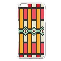 Rhombus And Stripes Patternapple Iphone 6 Plus/6s Plus Enamel White Case by LalyLauraFLM