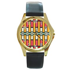 Rhombus And Stripes Pattern 			round Gold Metal Watch by LalyLauraFLM