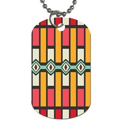 Rhombus And Stripes Pattern 			dog Tag (one Side) by LalyLauraFLM