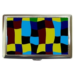 Distorted Squares In Retro Colors 			cigarette Money Case by LalyLauraFLM