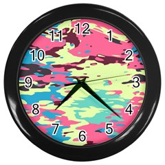 Chaos Texture 			wall Clock (black) by LalyLauraFLM