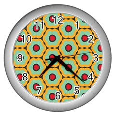 Floral Pattern 			wall Clock (silver) by LalyLauraFLM