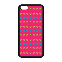 Hearts And Rhombus Patternapple Iphone 5c Seamless Case (black) by LalyLauraFLM
