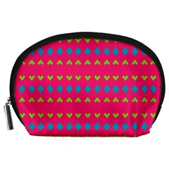 Hearts And Rhombus Pattern Accessory Pouch
