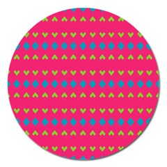 Hearts And Rhombus Pattern magnet 5  (round) by LalyLauraFLM